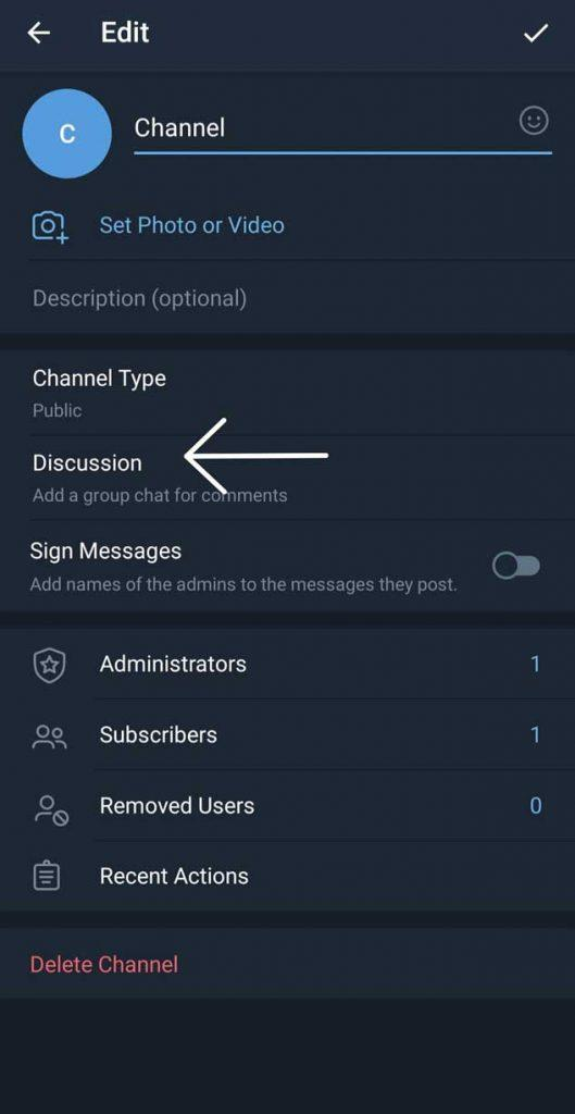 Enable Comments In Telegram Channel